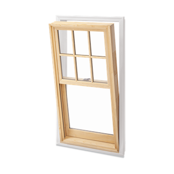 Signature Ultimate Wood Double Hung Insert Window Open Exterior View