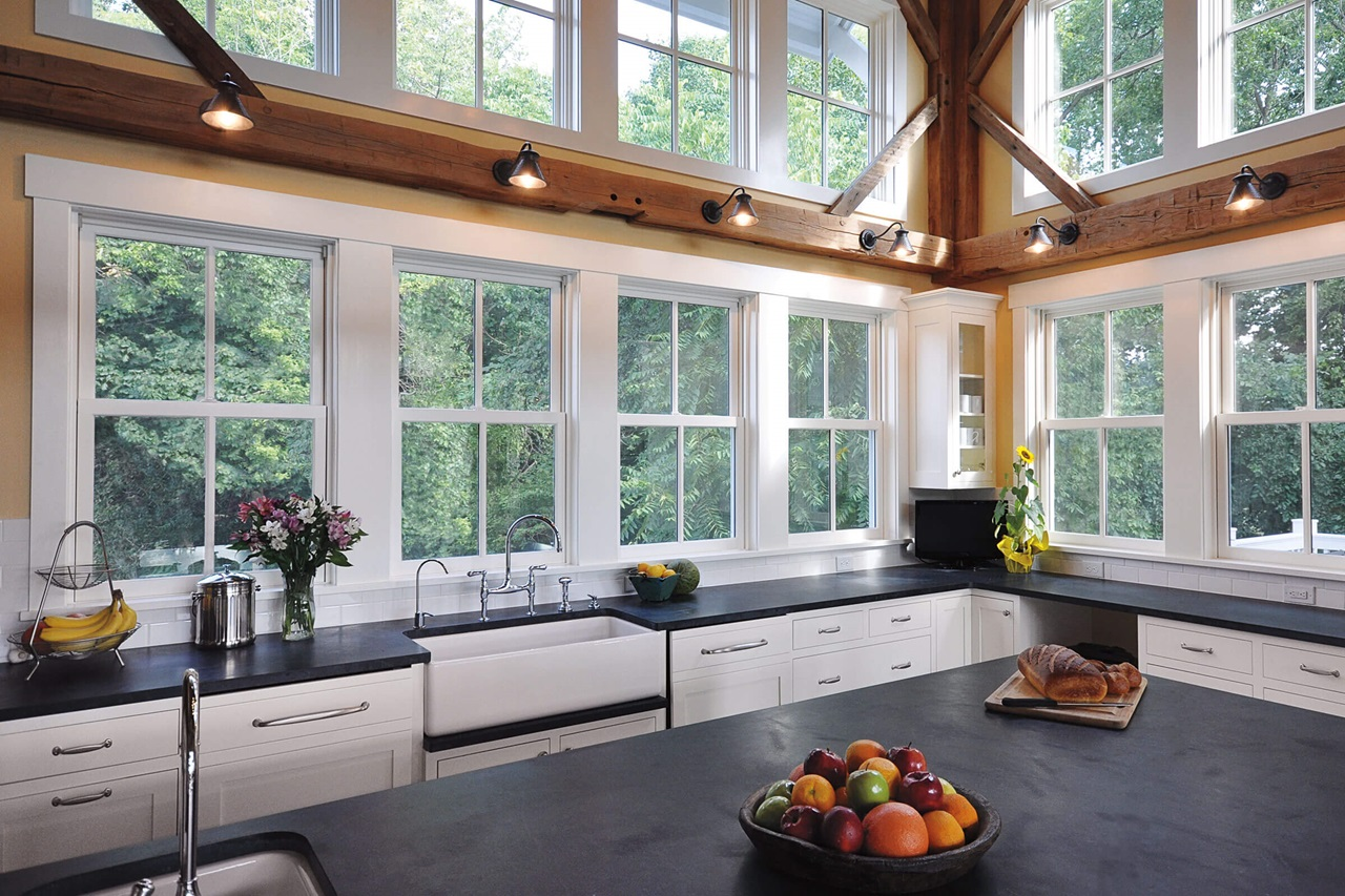 Large Kitchen With Signature Ultimate Wood Double Hung Windows