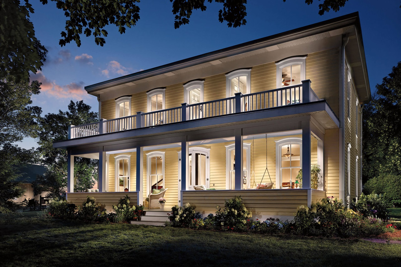 Exterior View Of Brightly Lit House With Signature Ultimate Wood Double Hung Windows