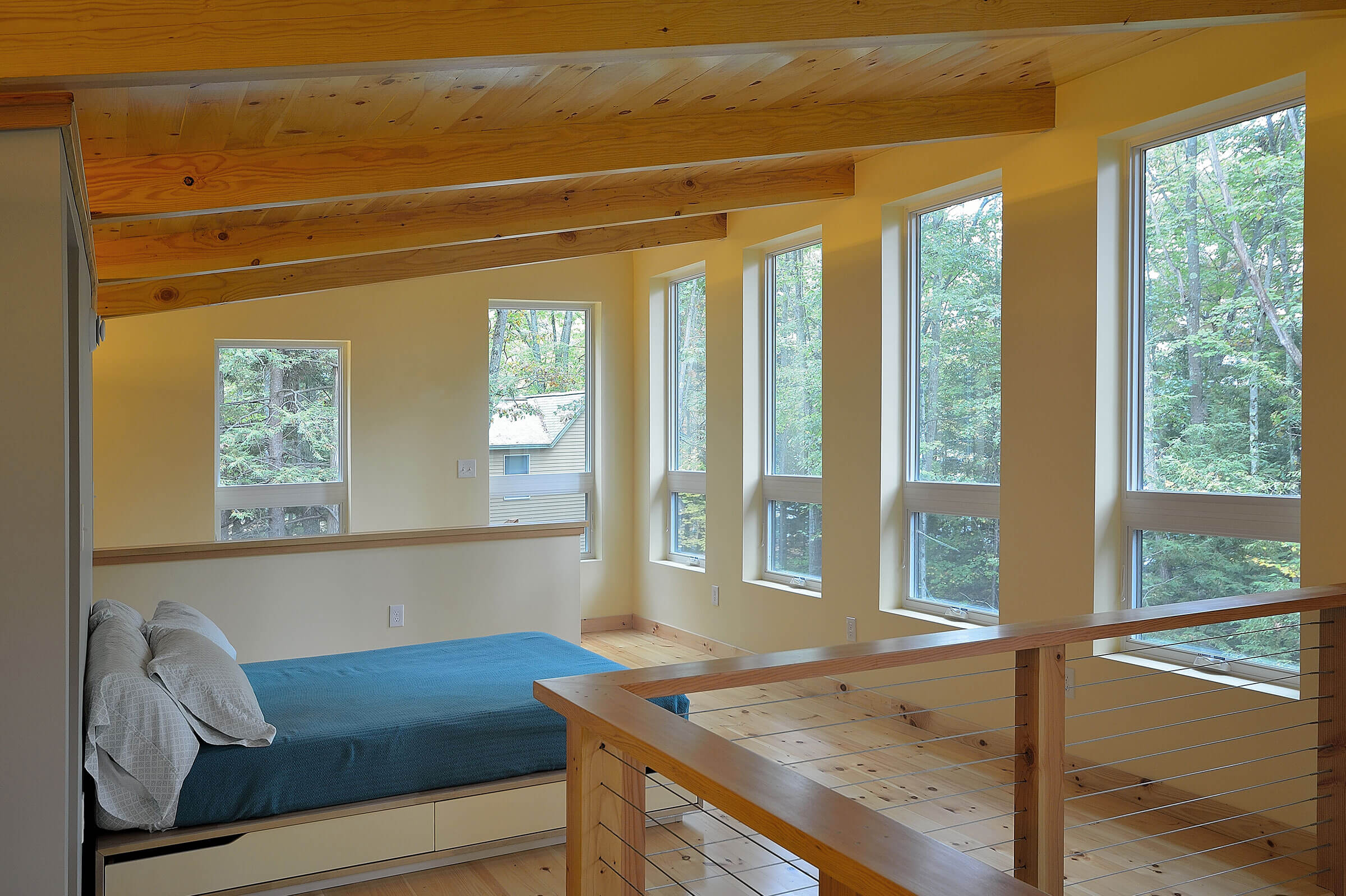 Bedroom In Contemporary Cabin With Marvin Essential Windows