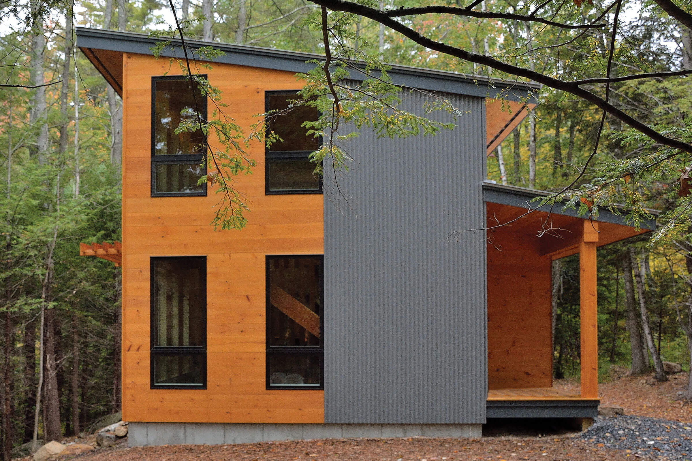 Exterior View Of Contemporary Cabin With Marvin Essential Windows