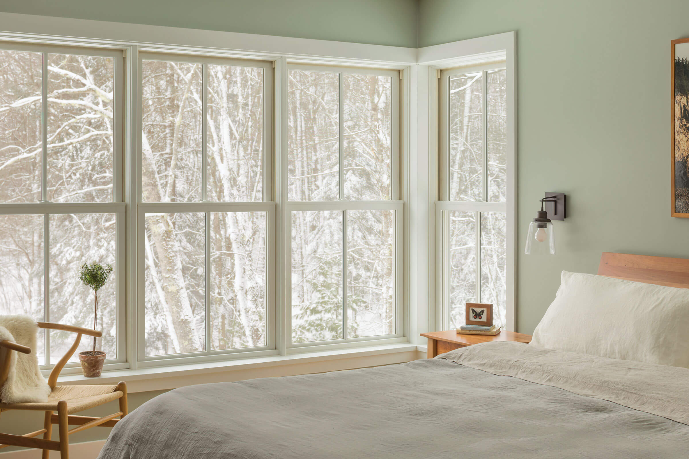 Bedroom With Elevate Double Hung Windows