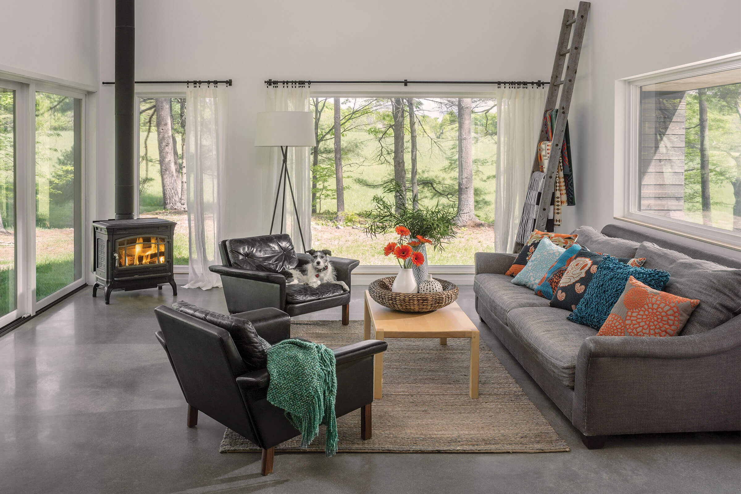 Living Room With Ultimate Picture Narrow Frame Window