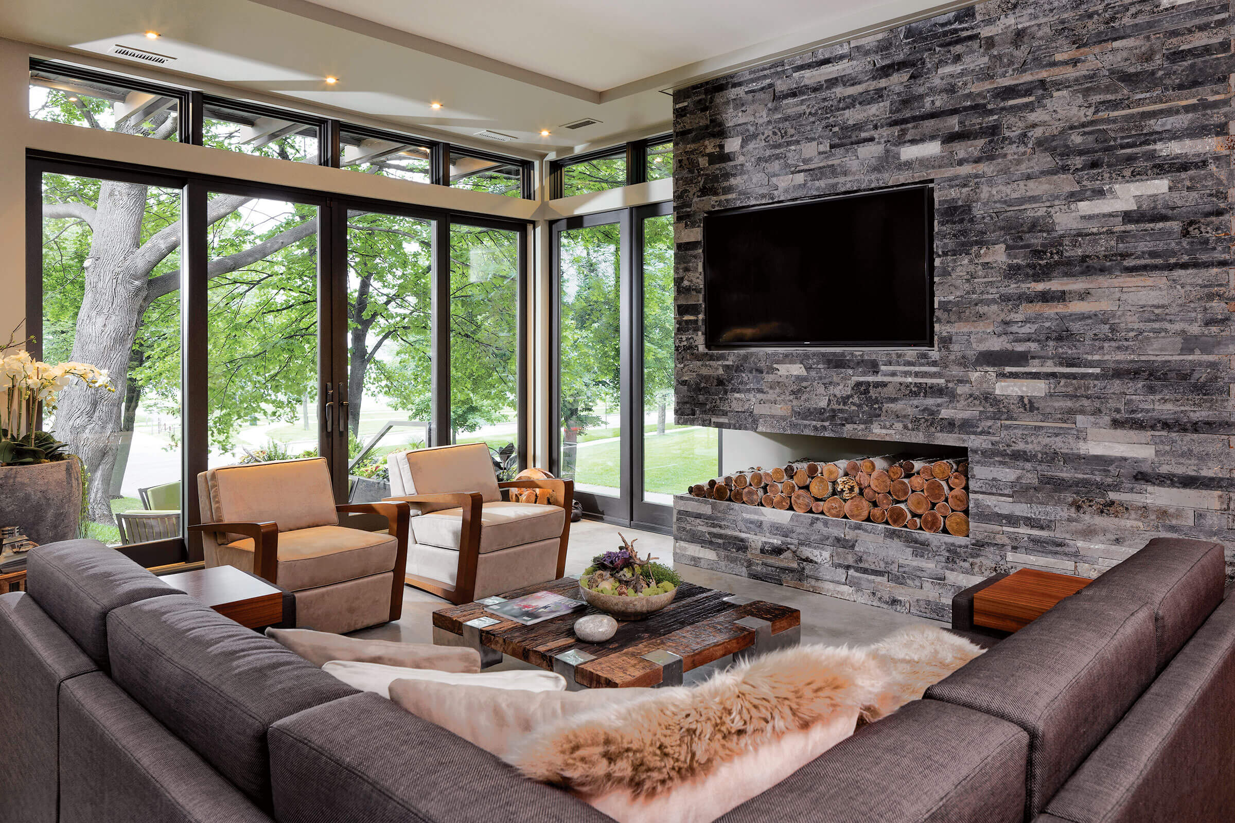 Living Room With Elevate Awning And Elevate Casement Windows