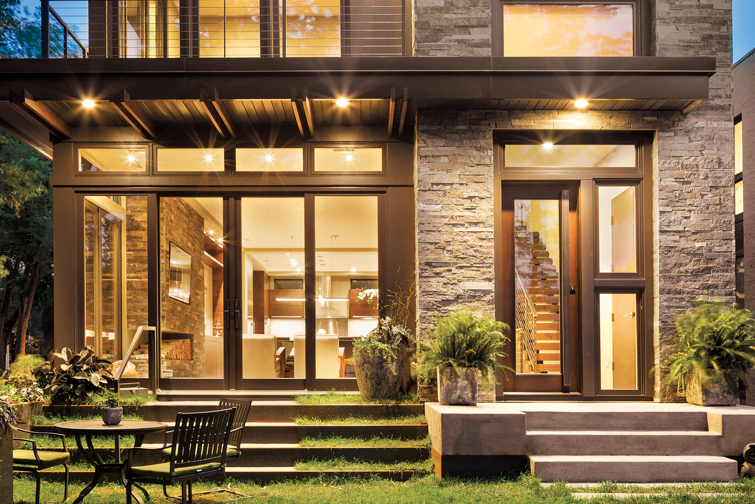 Exterior View Of Contemporary Home With Elevate Swinging French Door