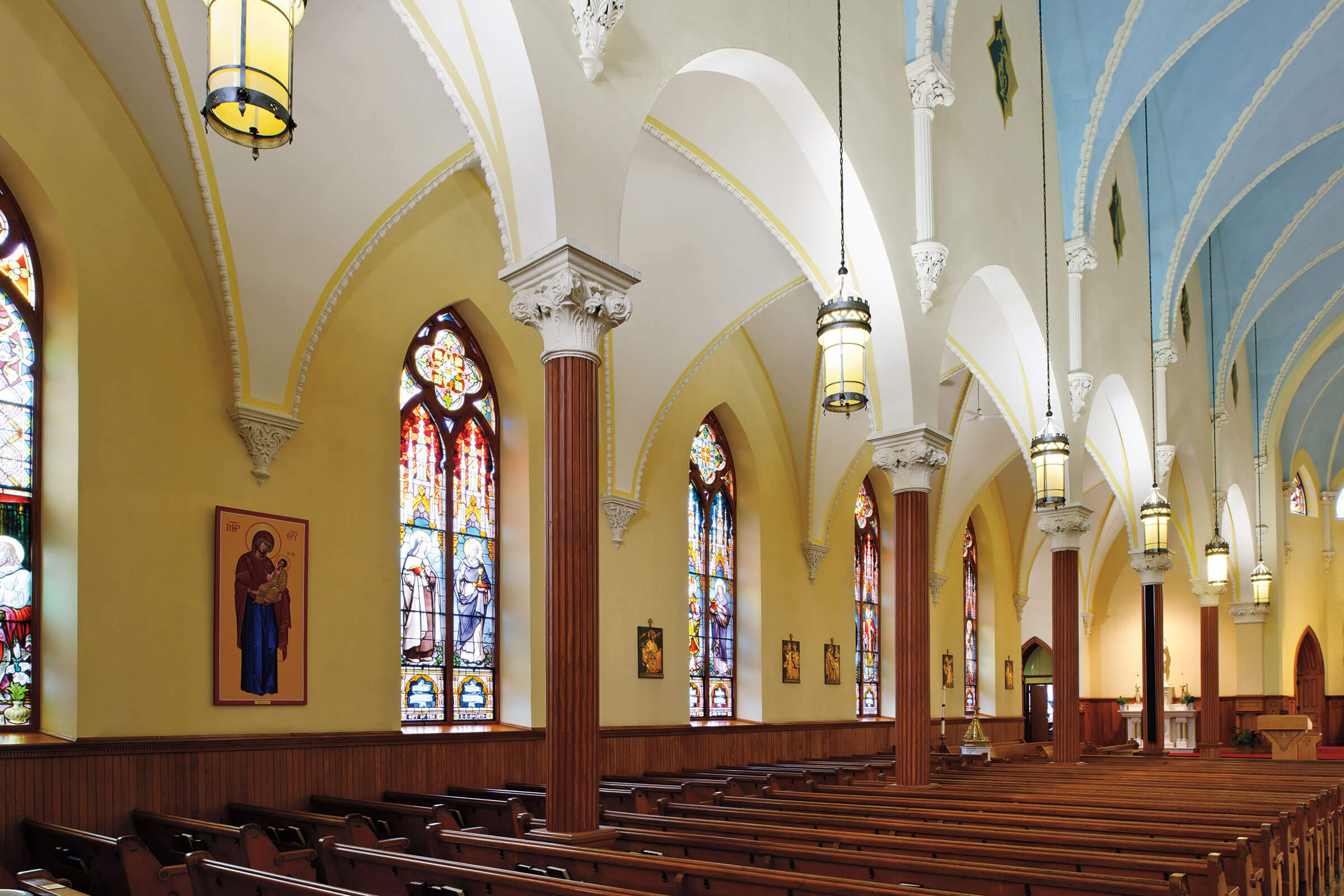 Interior View Of St. Mary's Catholic Church With Marvin Windows And Doors