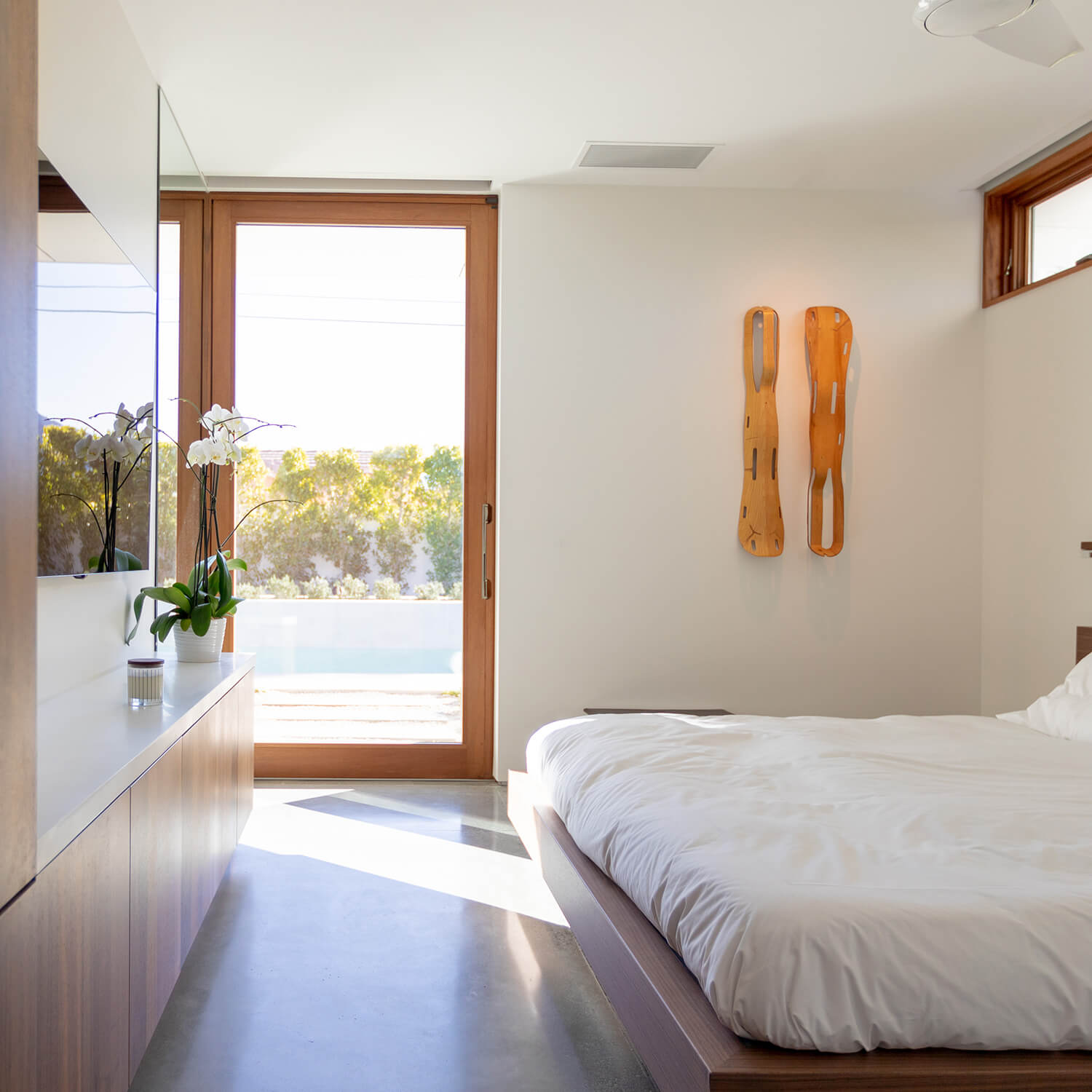 A bedroom in the Axiom Desert House in Palm Springs, California.