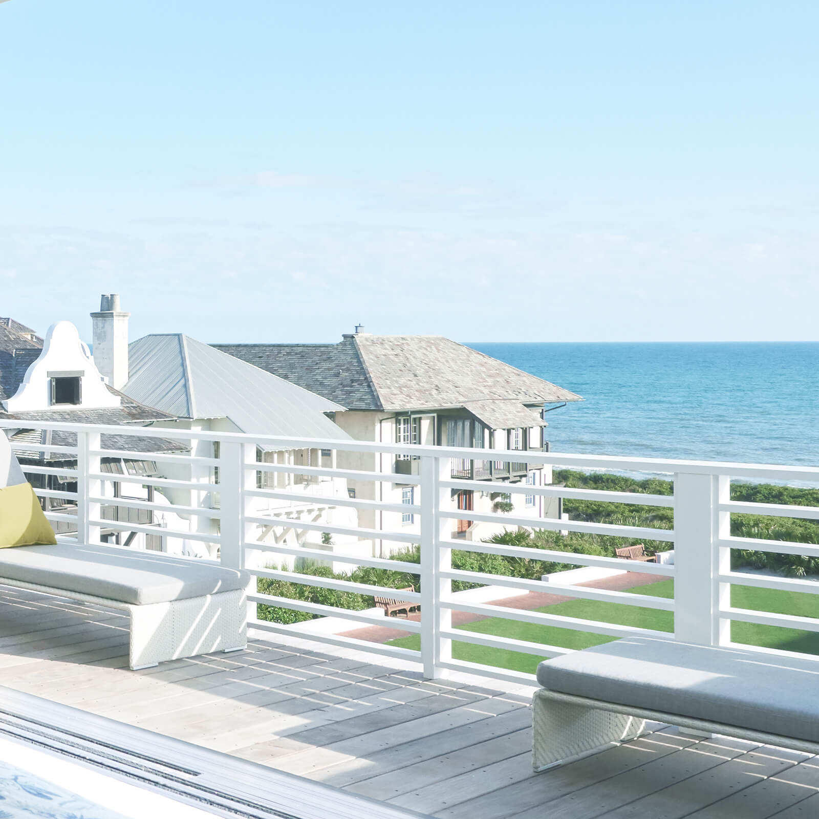 A deck overlooking the ocean at Vern Yip's Rosemary Beach home.
