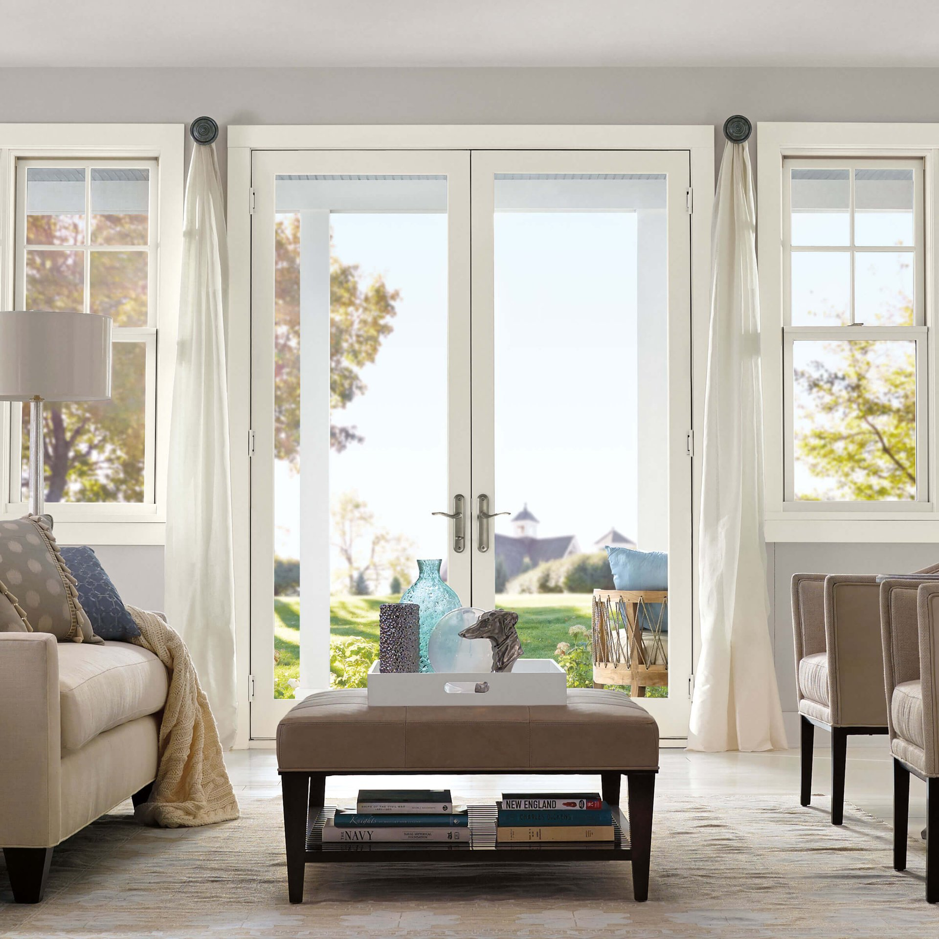 Living Room With Marvin Elevate Swinging French Door