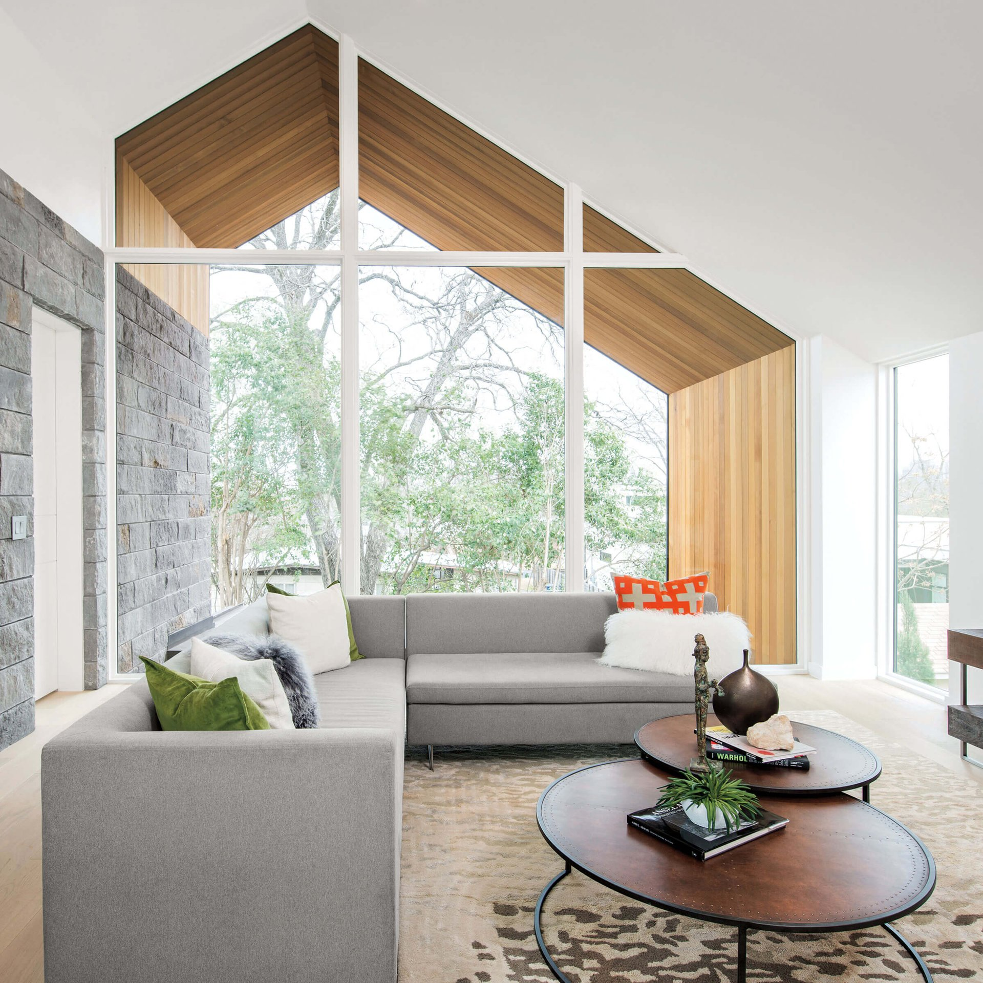Interior View Of Contemporary Home With Ultimate Specialty Shape Windows
