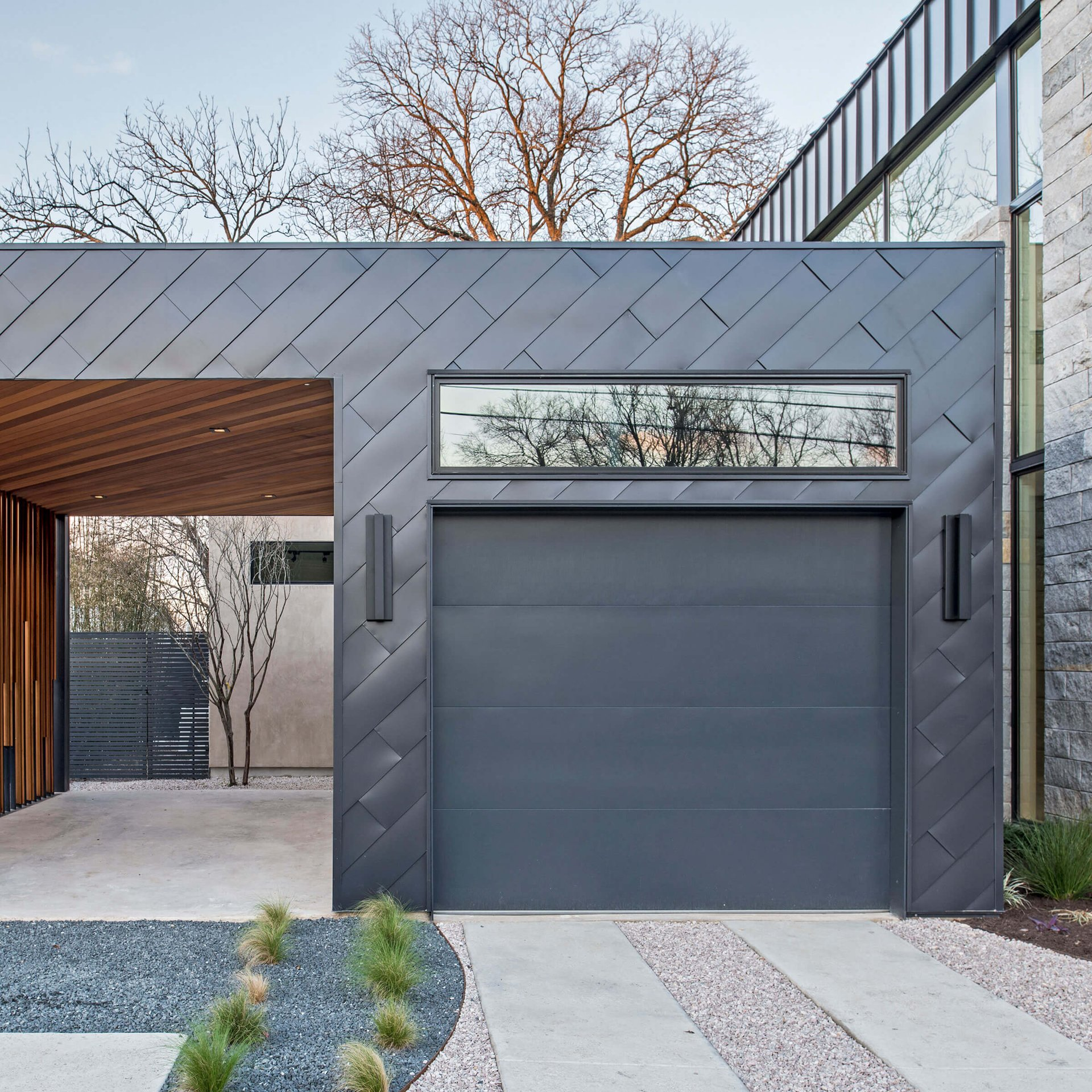 Garage Of Contemporary Home with Ultimate Windows