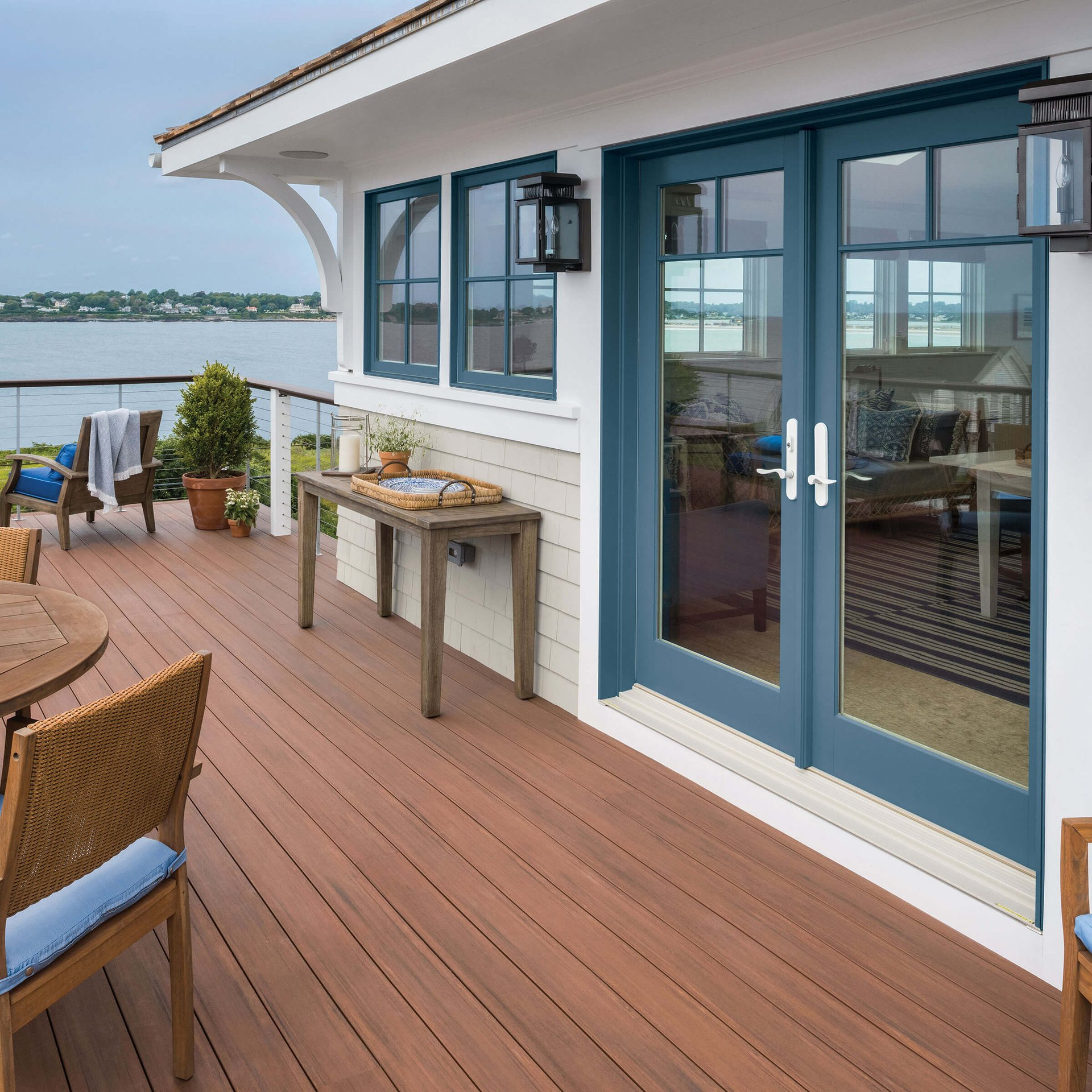 Lakeside View From Patio With Signature Ultimate Swinging French Door