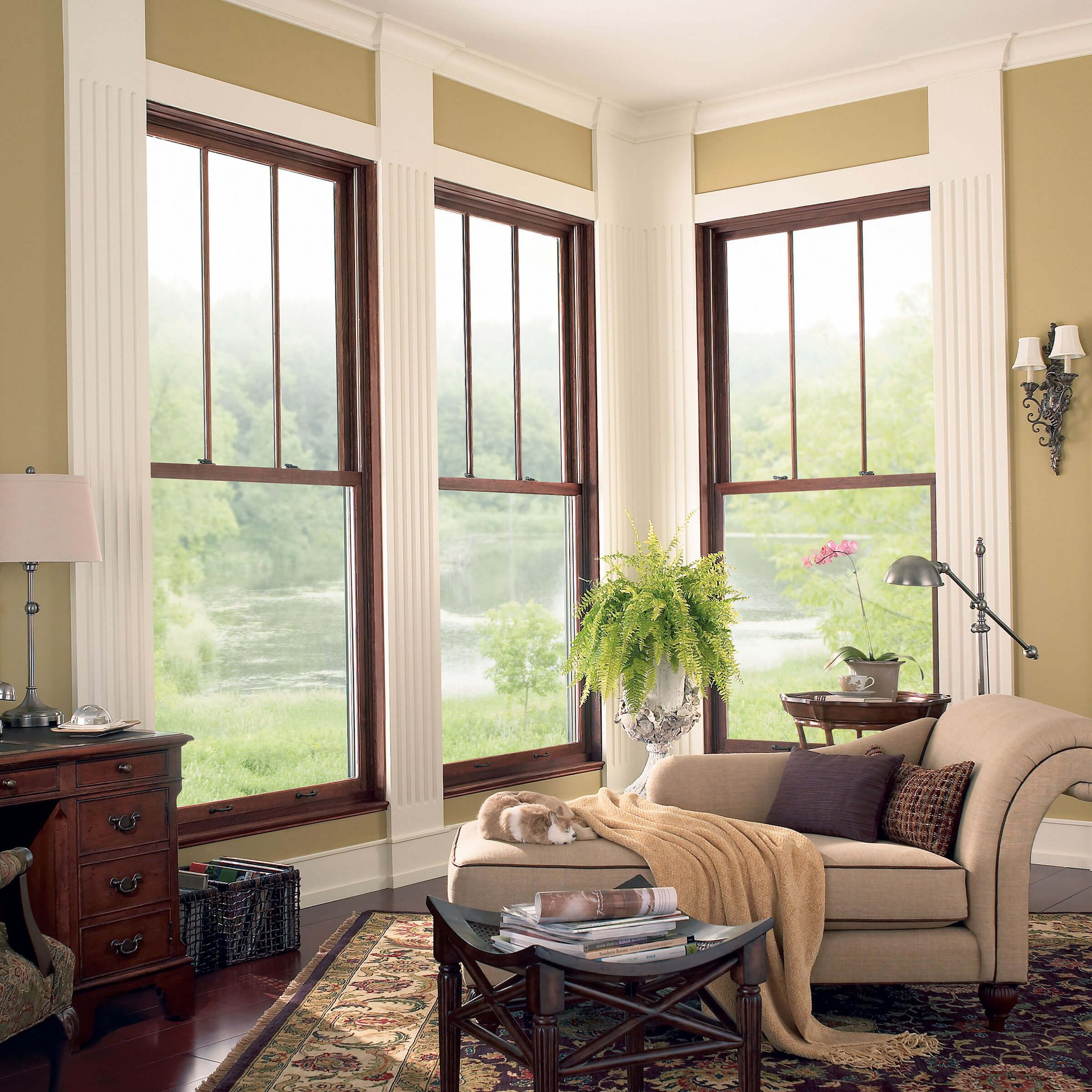 Living Room With Signature Ultimate Wood Double Hung Magnum Windows