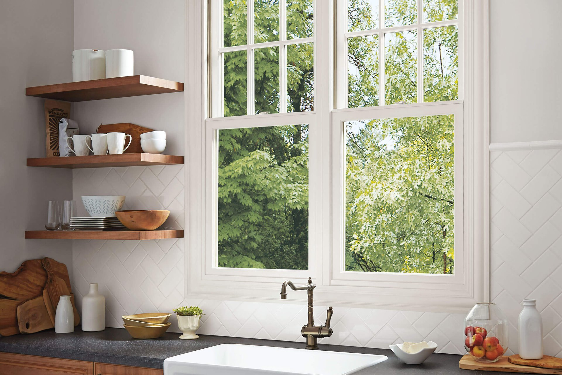 View Of Marvin Elevate Double Hung Insert Window Above Kitchen Sink