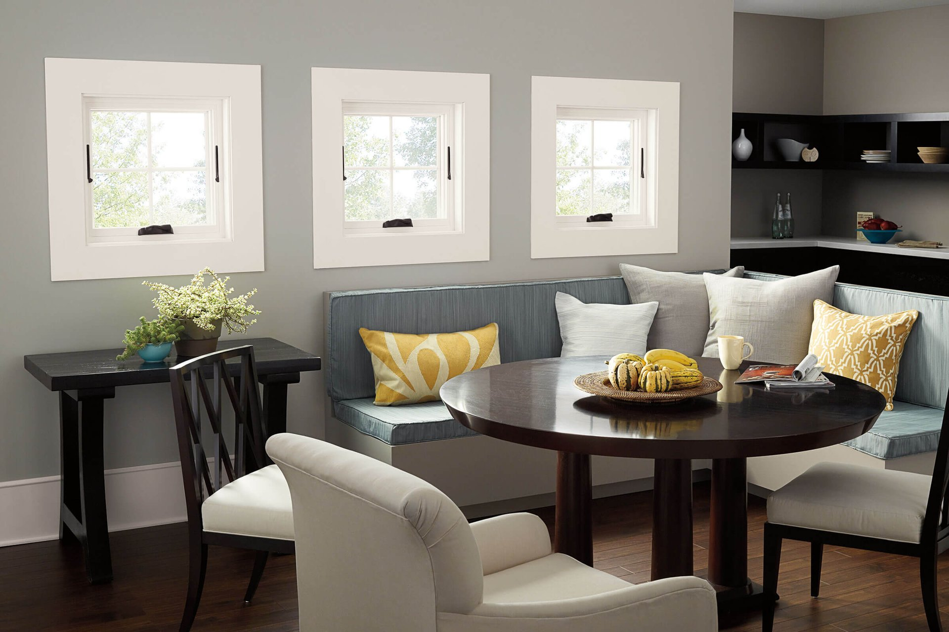 Dining Room With Three Marvin Essential Awning Windows In Stone White