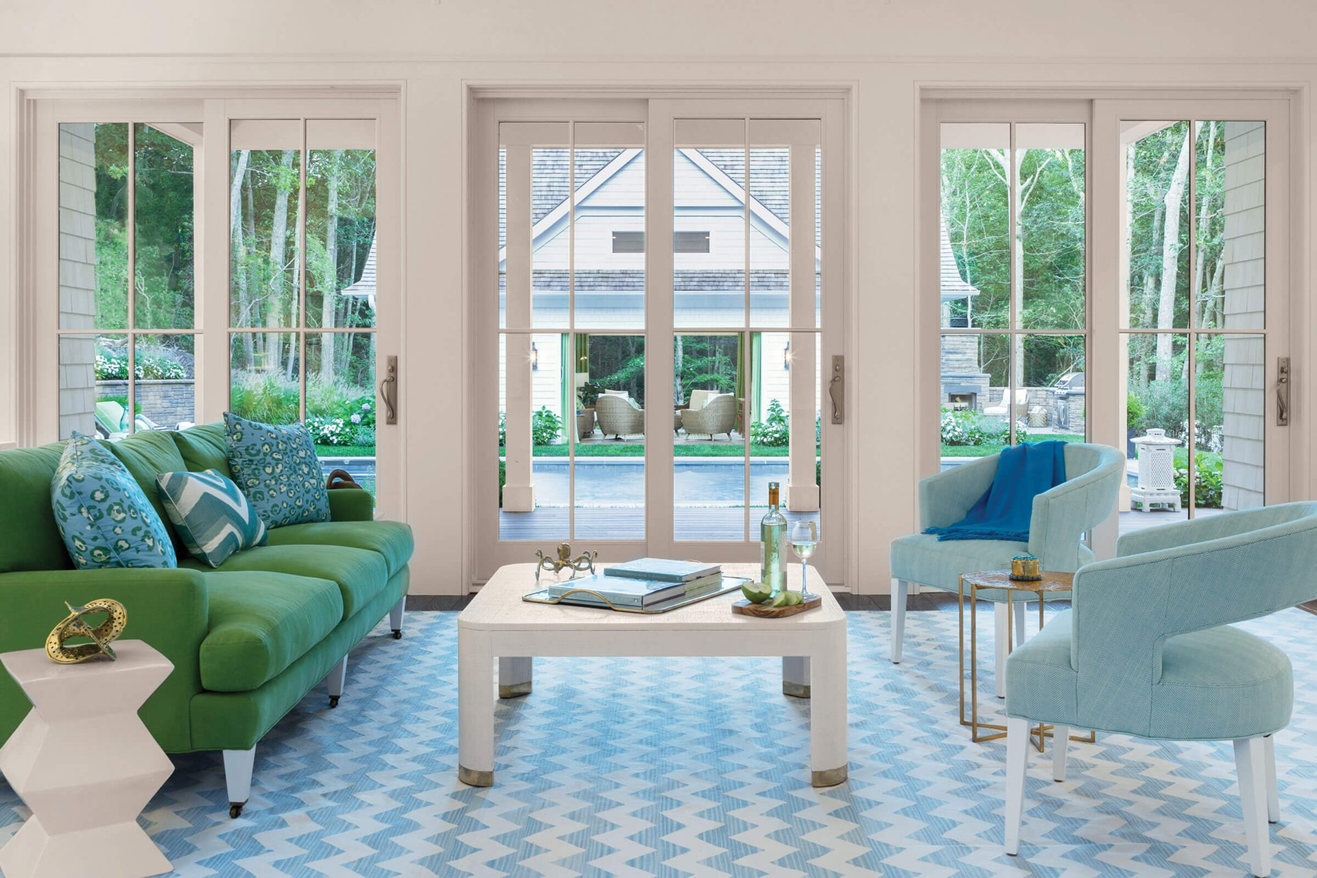 Green And Blue Living Room With Signature Ultimate Sliding French Door
